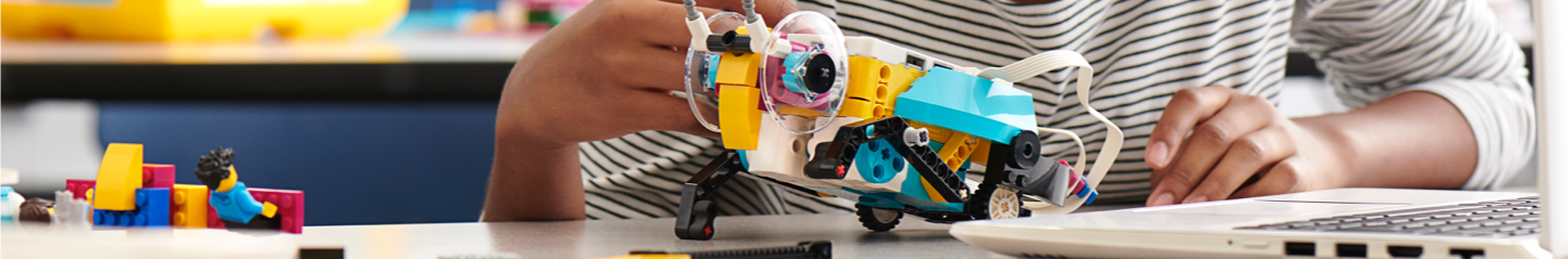 Close-up of SPIKE Prime airplane model.