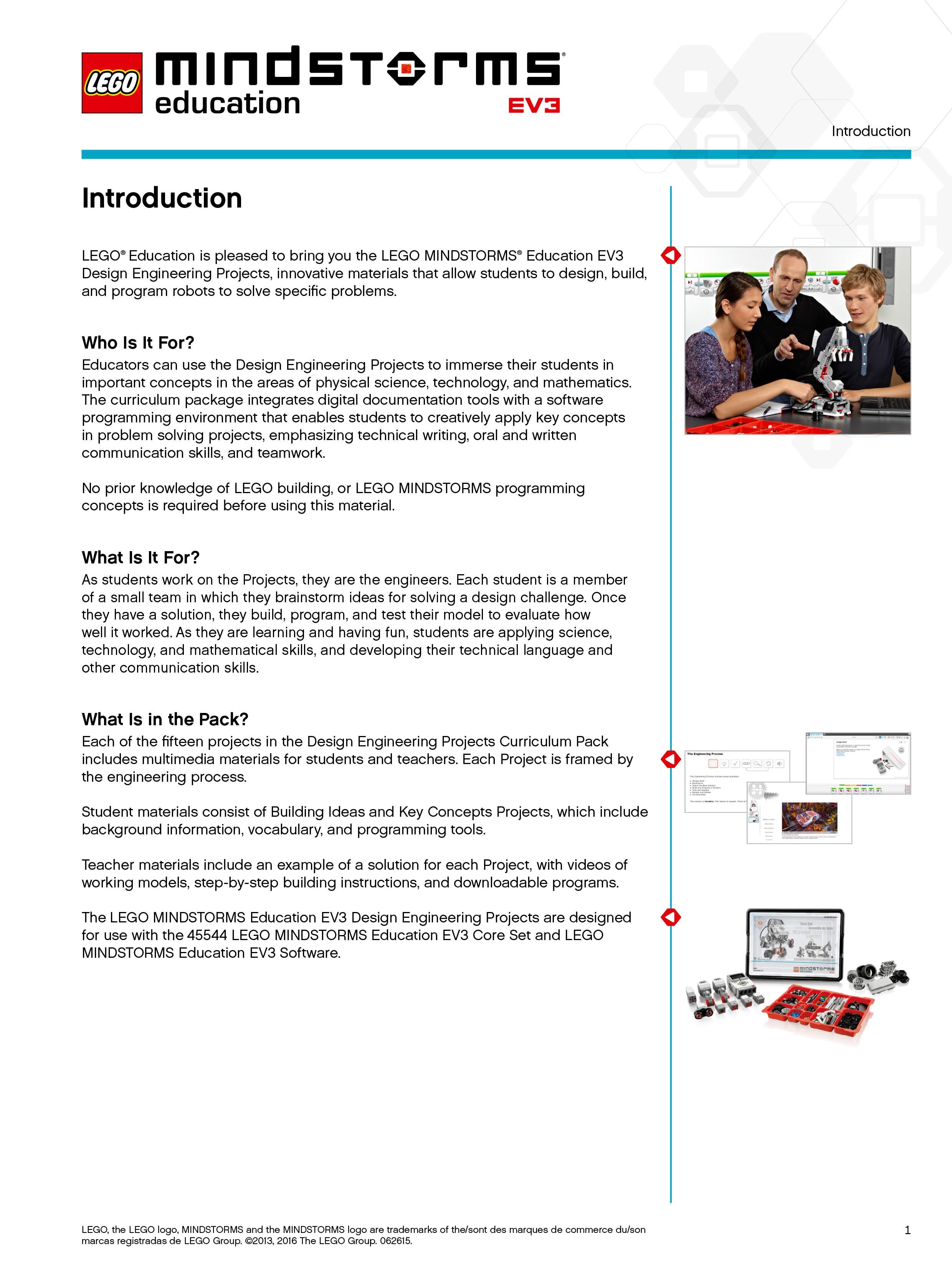 MINDSTORMS EV3 Design Engineering Project teacher introduction