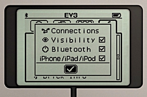 EV3 screen showing Bluetooth enabled.