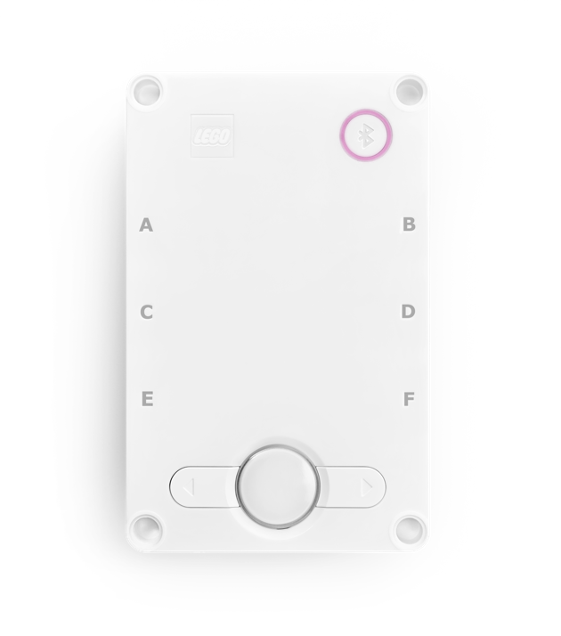 The Hub with center button flashing violet.